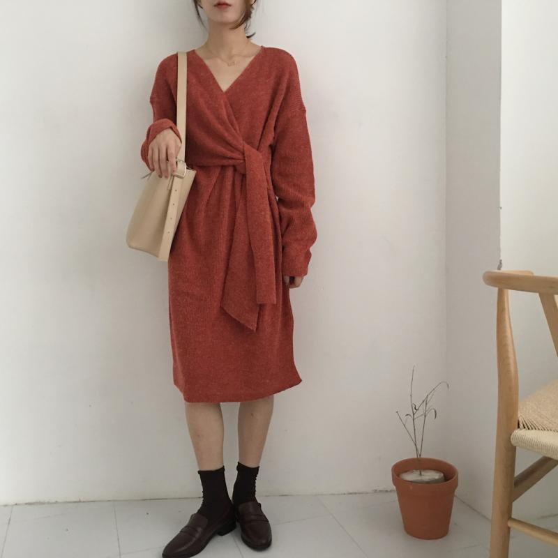 H15a64ff8bd484549abc5b7f78b429aaeP - Winter Korean V-Neck Long Sleeves Knitted Dress
