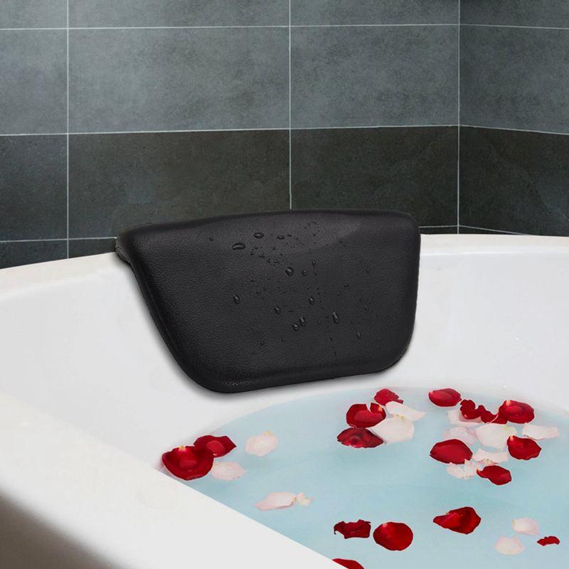 Hot-Spa Bath tub Pillow PU Bath Cushion With Non-Slip Suction Cups, Ergonomic Home Spa Headrest For Relaxing Head, Neck, Back An
