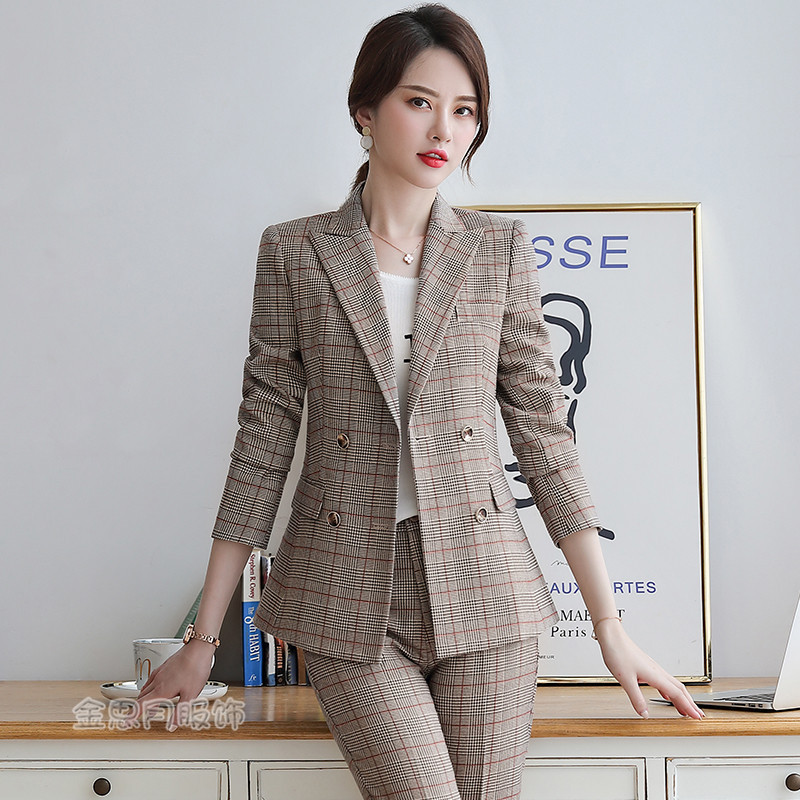 Professional Women's Suit High Quality Office Pants Set 2019 Autumn Casual Plaid Long Sleeve Ladies Blazer Two-piece Trousers