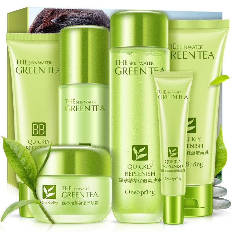 Groene Thee Huidverzorging Sets Koreaanse Cosmetische Whitening Hydraterende Diep Hydraterende Voedende Verstevigende Skin Gezichtsverzorging-in Gezicht zelfdruiners & Bronzers van Schoonheid op  Groep 1