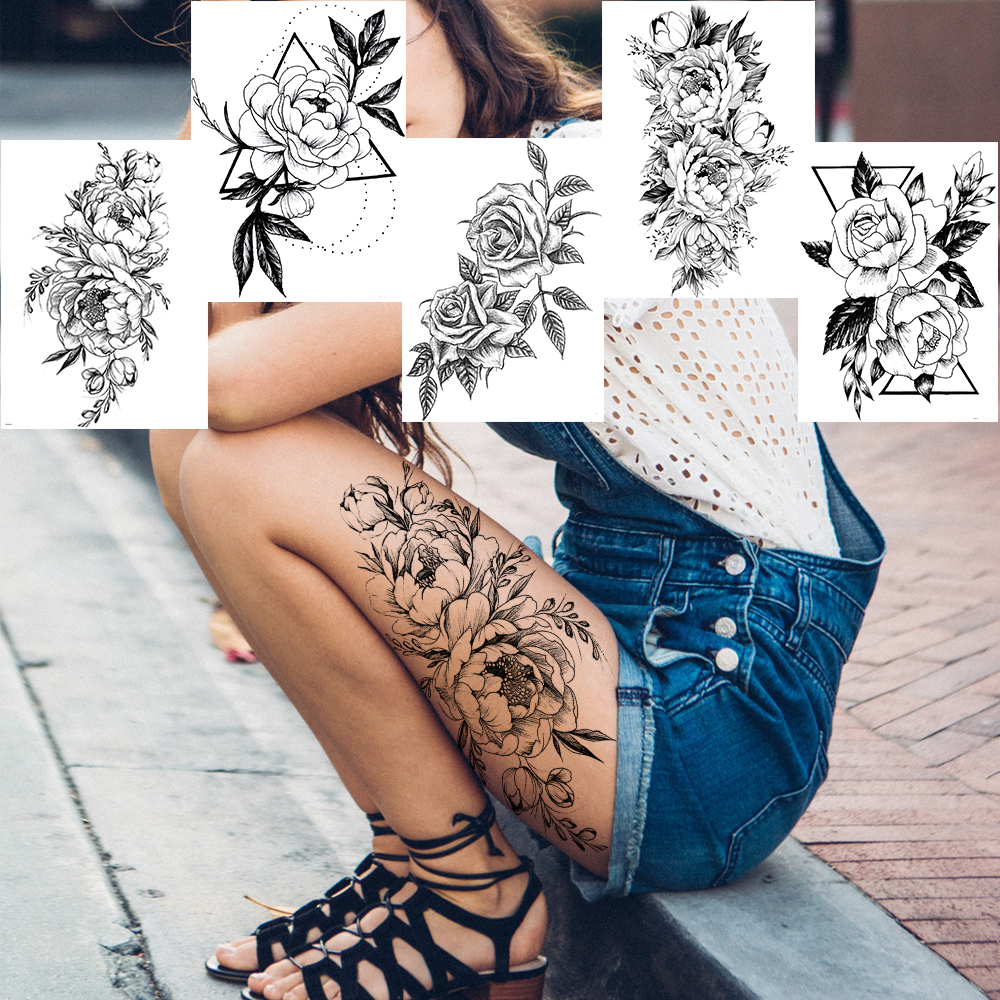 Geometric Flower Temporary Tattoos Sticker Realistic Fake Waterproof Black Rose Tatoos For Women Girl Body Art Arm Legs Tattoo