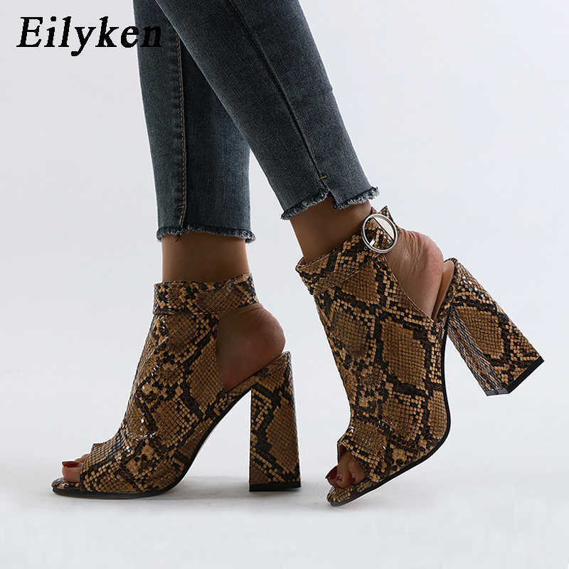 Eilyken yeni İlkbahar/sonbahar Roma çizmeler sandalet moda kare topuklu kadın serpantin Peep Toe ayak bileği toka kayış ayakkabı boyutu 35-42