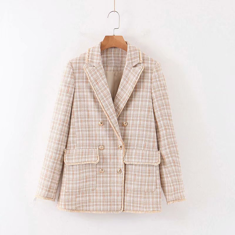 Girls Beige Plaid Suit Jacket 2019 New Double-breasted Pockets Raw Korean Version Of The Loose Elegant Cute Age-reducing Stude