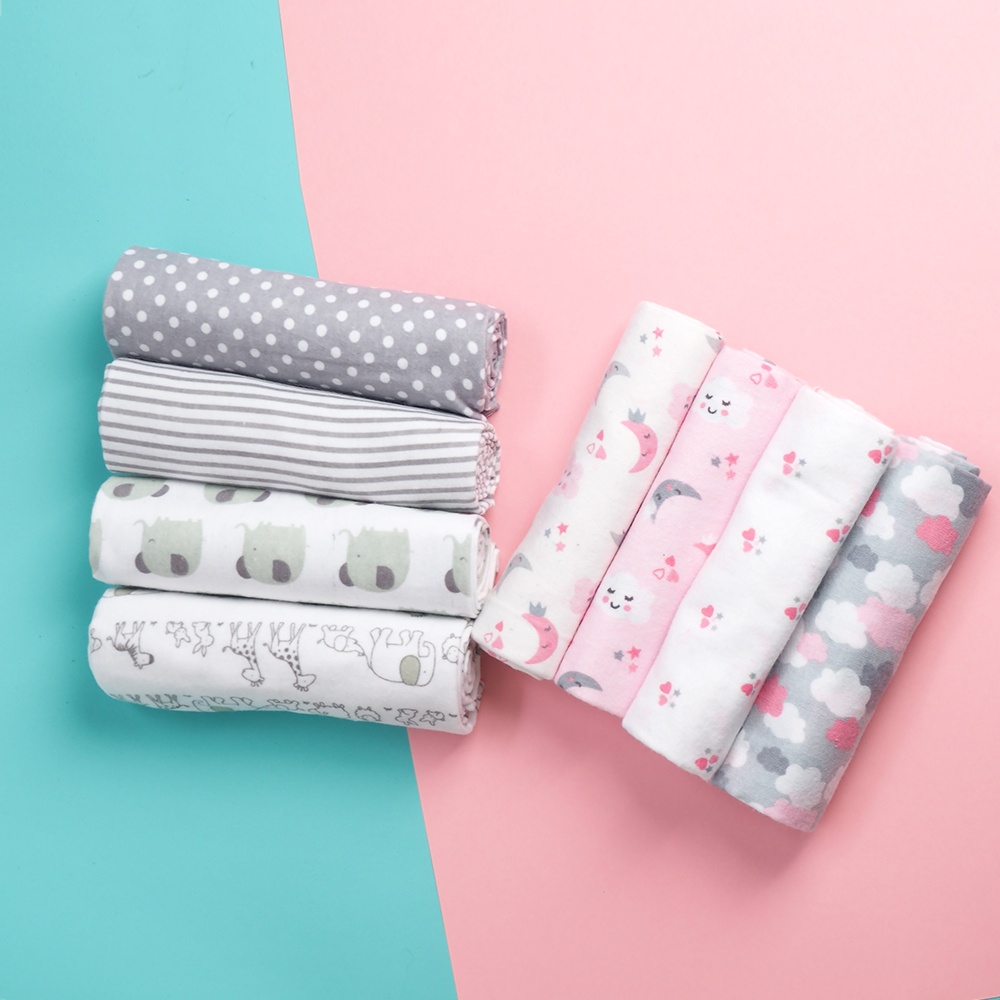 4 Pcs/Lot 100% Cotton Flannel Receiving Baby Blanket Soft Baby Muslin Diapers Newborn Swaddle Blanket Muslin Swaddle 76*76 CM