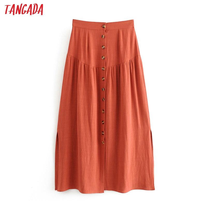 Tangada Women Orange Cotton Midi Skirt Faldas Mujer Vintage Buttons 2020 Summer Ladies Elegant Chic Mid Calf Skirts 3P03