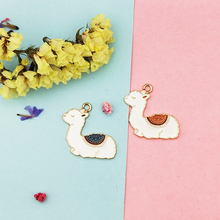 10pcs 28x30mm Lovely Enamel Alpaca Charms For Jewelry Making And Crafting Earrings Pendants Necklace Bracelet Dangle Gold Color 10pcs moon cat dangle charms gold color zinc alloy enamel charms pendants for diy bracelet necklace earrings jewelry making