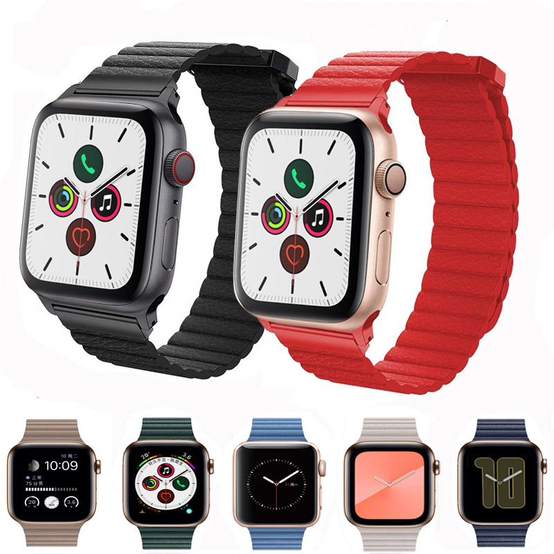 Genuine Leather for apple watch series 5 4 band correa applwatch 44mm 40mm 42mm 38mm iwatch 5 4 3 2 1 bracelet wrist pulseira