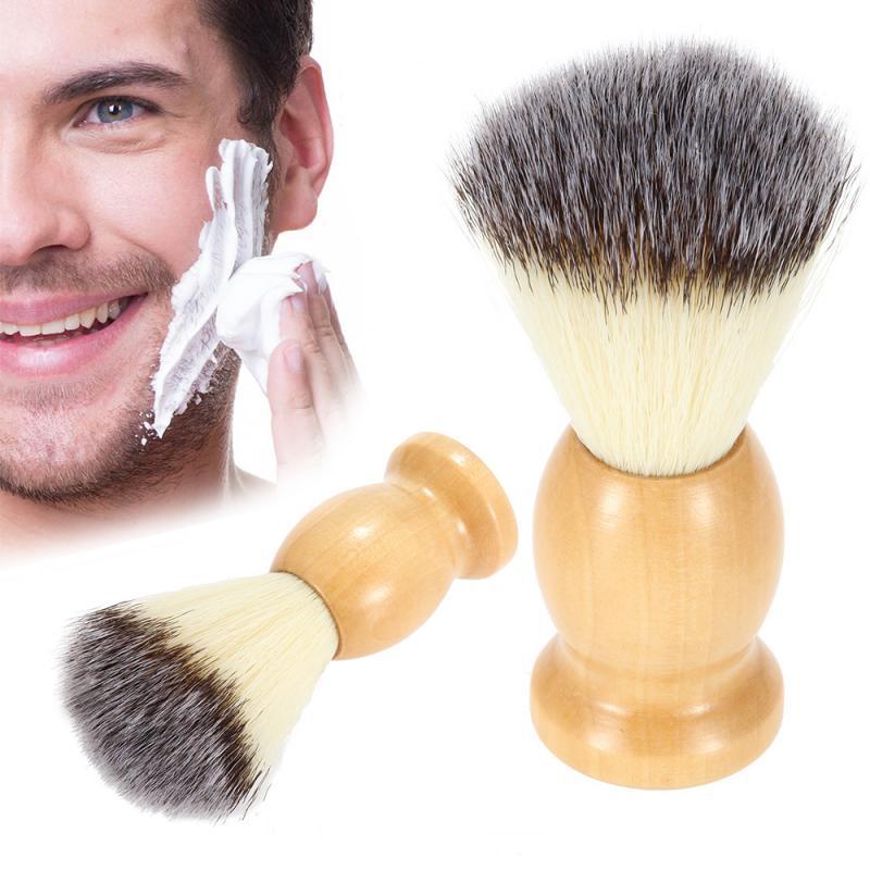 Nylon Shaving Brush Men's Moustache Hair Barber Wooden Handle Shave Brush Tool salon
