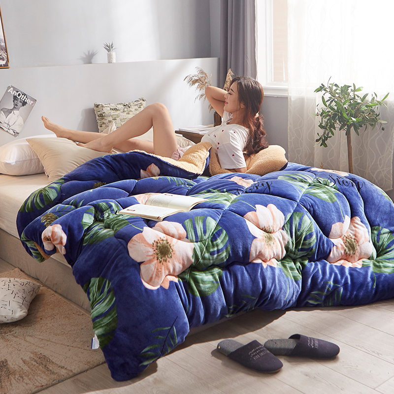 High Quality Warm Comforter Camel Cotton Quilt Thicken Blanket Multily-color Choose Winter Patchwork Duvet Lamb Wool Quilt