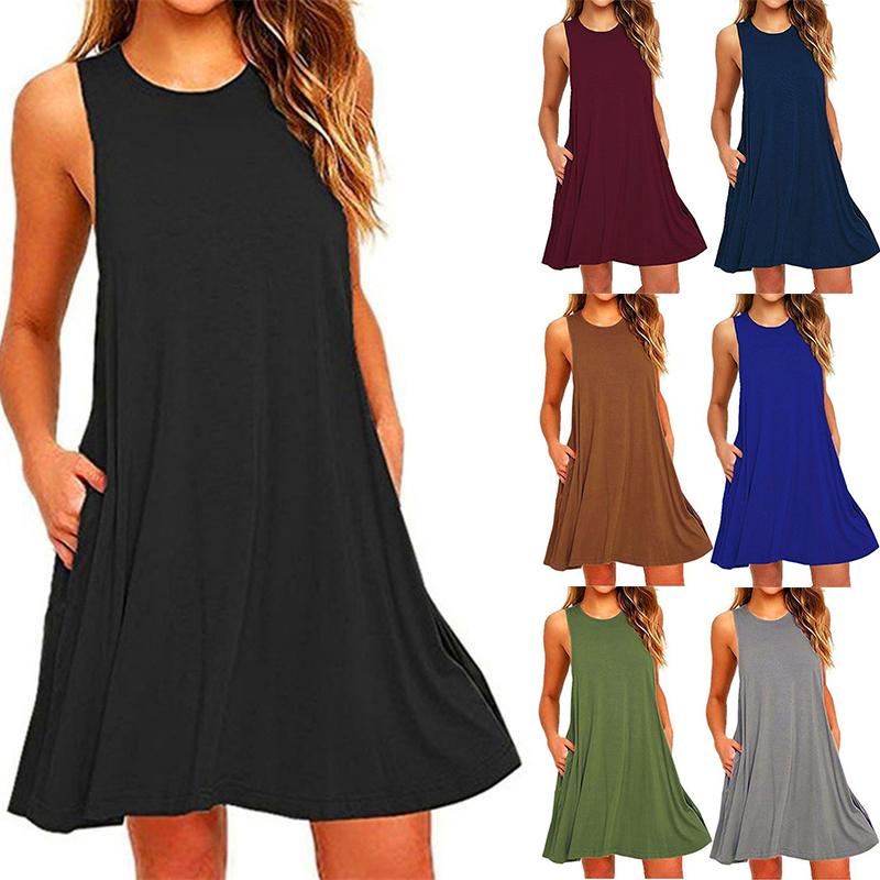 2021 Women's Summer Casual Swing T Shirt Dresses Beach Cover Up With Pockets Plus Size Loose T shirt Dress