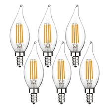E12 LED Candlestick Bulb 60W Equivalent Dimmable Chandelier 6W 2700K Warm White 550LM CA11 Flame Pointed Candle wi