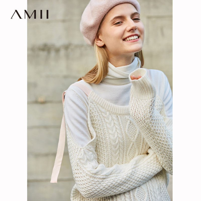 Amii Minimalist Spring Strapless Straps Knit Sweater Women Solid Full Sleeves Loose Pullover Tops 11840253
