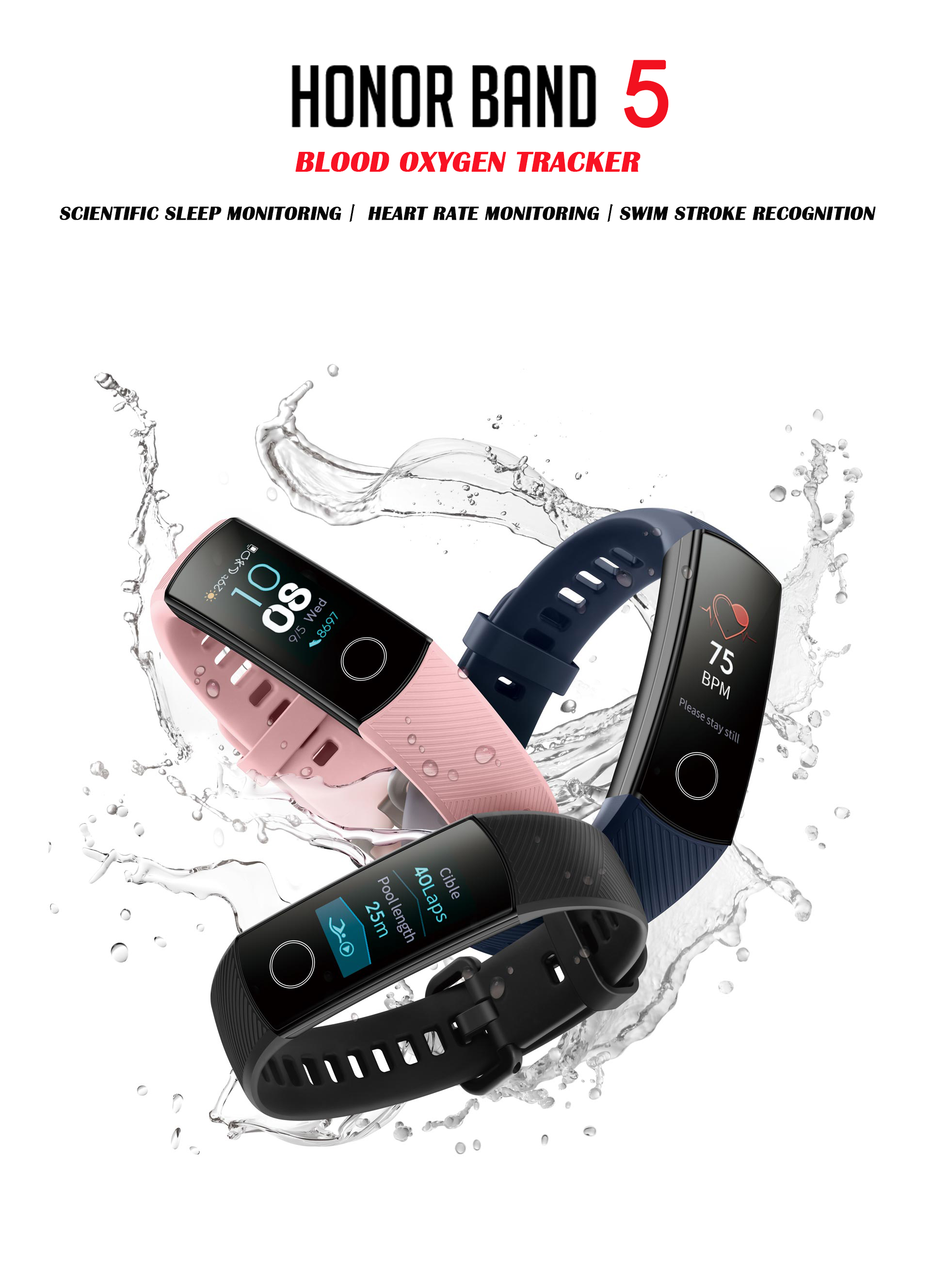 Huawei Honor blood oxygen monitoring smart watch or Smart Band including heart rate regulation and fitness sleep swimming sport tracker 1