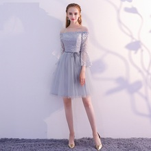 Womens short formal prom evening dress Plus size bridesmaid lace tulle grey A line wedding party dress Bespoke Occasion Dress