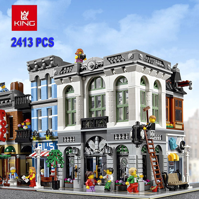 Brick Bank City  Street view Model Creator Building Blocks Bricks Set 10251 Gift For Child Educational Toy