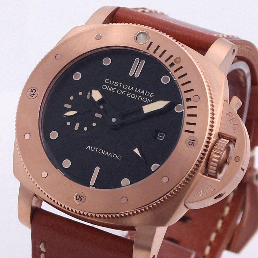47mm GMT montre hommes mouvement mécanique automatique en acier inoxydable bracelet en cuir lumineux étanche luxe militaire hommes montre