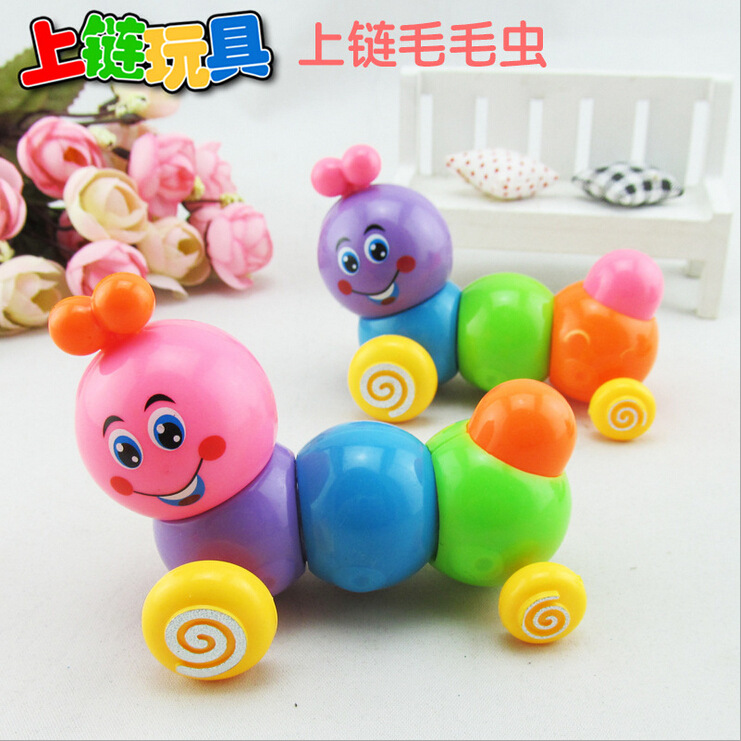 Hot Selling Children Wind-up Toy Colorful Chain Caterpillar Twist Butt Telescopic Worm Toy