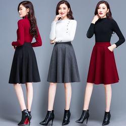 2020 outono inverno feminino fino plissado saia de lã feminino mais veludo grosso quente elástico cintura alta bolso maxi saias de lã o839