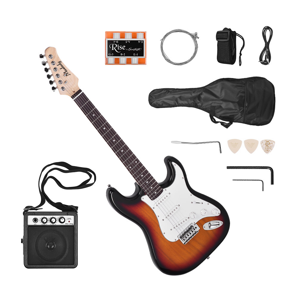 Electric-Guitar Bag-Strap Speaker-Pitch-Pipe Muslady Solid-Wood 6-String Picks 21-Frets title=