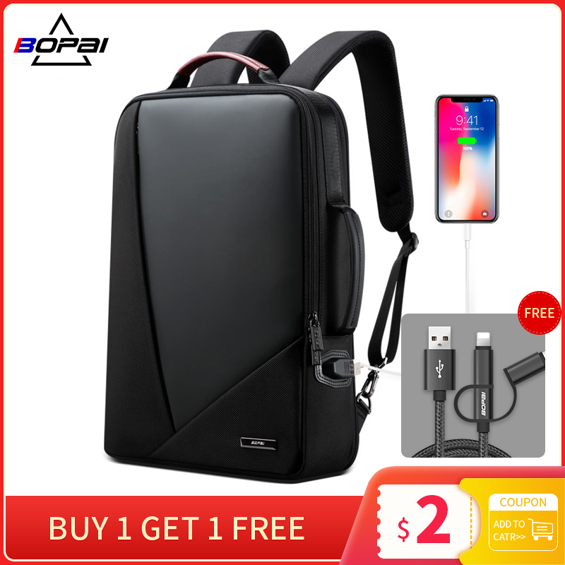 BOPAI Business Backpack Men's usb Anti-theft Computer Bag Increased Capacity 15.6 inch Laptop Backpack Women Elegant Waterproof(China)