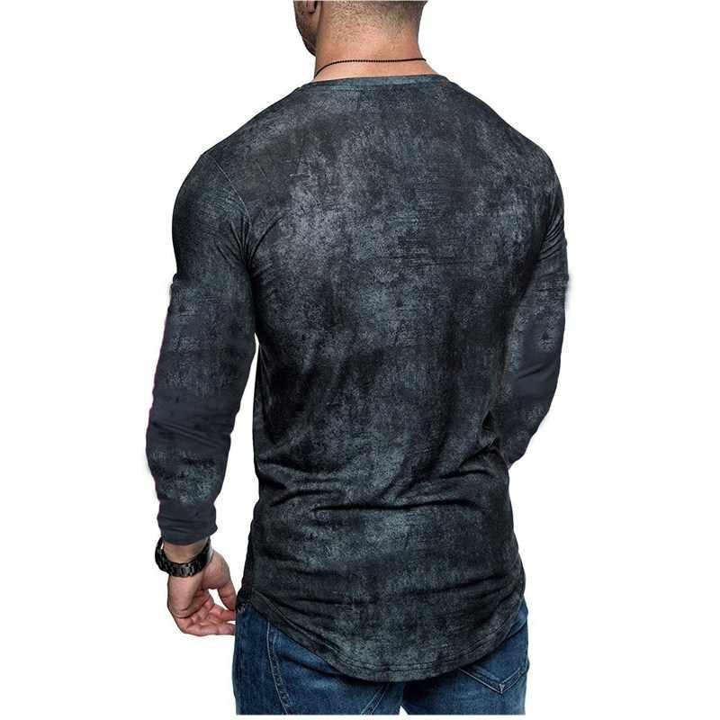夏 2018 新メンズ長袖ラウンドネック Tシャツカジュアル紳士服にスプライシング無地綿スポーツ tシャツ男性
