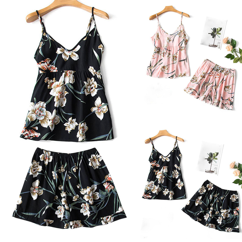Women's Sleepwear Sexy Summer fashion causal Womens Sexy Camis Sleepwear Lingerie Print Nightwear Underwear 2PC Set   Y725