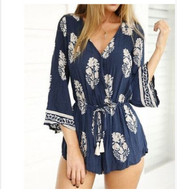 Women Elegant Summer Bohemian Floral Jumpsuits Rompers Sexy Beach Girls Short Overalls Boho White Floral Print Playsuits
