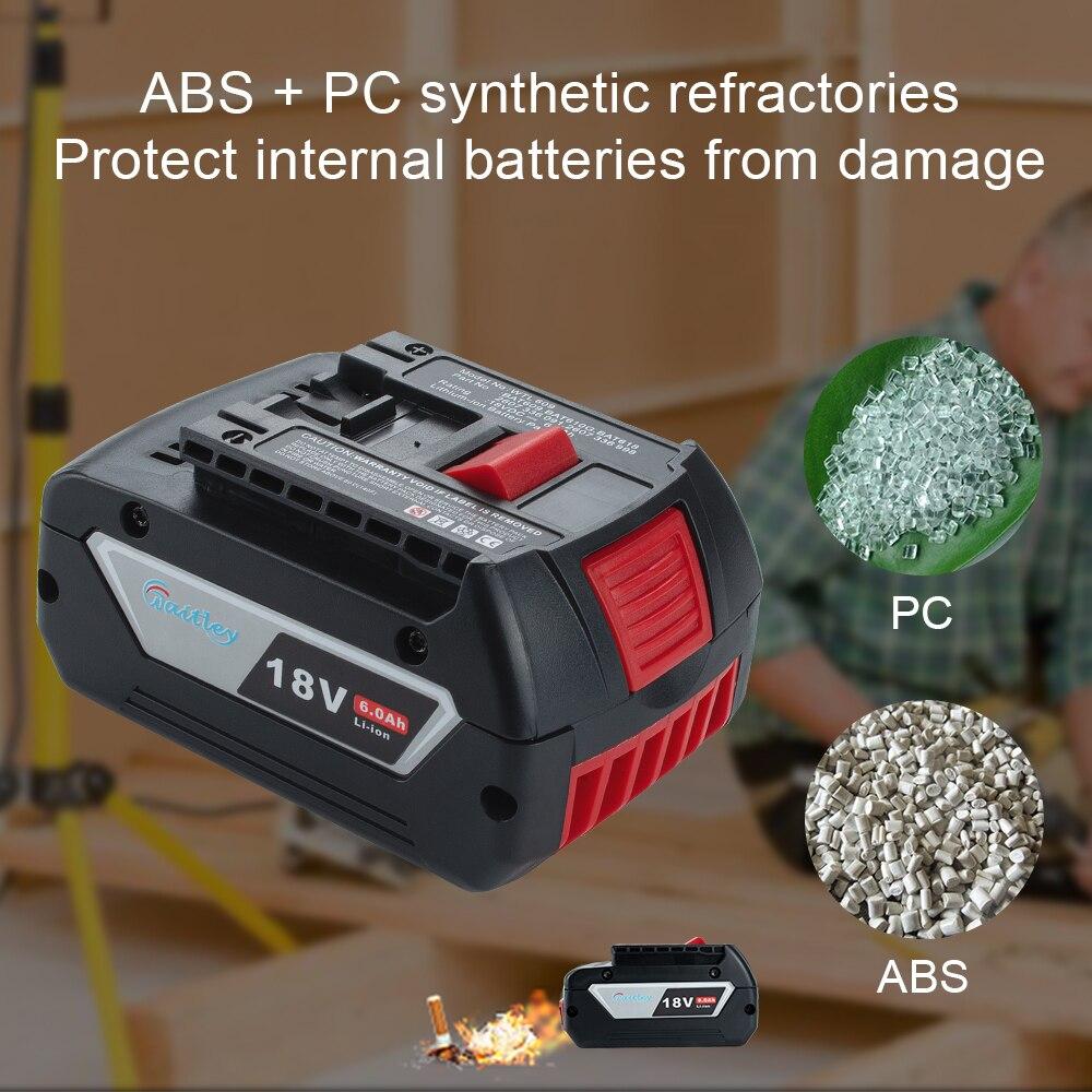 Waitley 18V 6.0A Rechargeable Li-ion batterie pour Bosch 18V outil électrique de secours 6000mah Portable remplacement BAT609 indicateur lumineux - 4