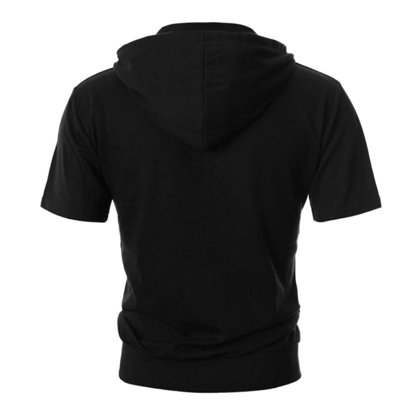 Summer Casual Mens Short Sleeves Hoodies Male Hooded Sweatshirts Cool Solid Color Men Sportswear Streetwear Tops Plus Size (1)