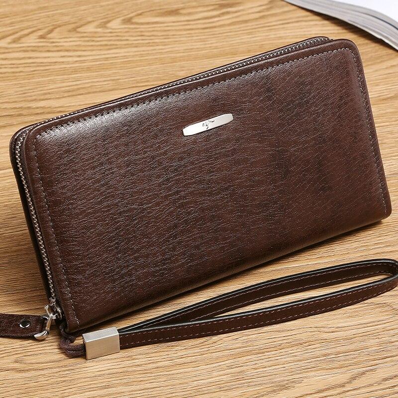 Canguru reino famosa marca de moda masculina carteiras longo couro genuíno negócios embreagem zíper carteira grande capacidade bolsa do telefone - 4