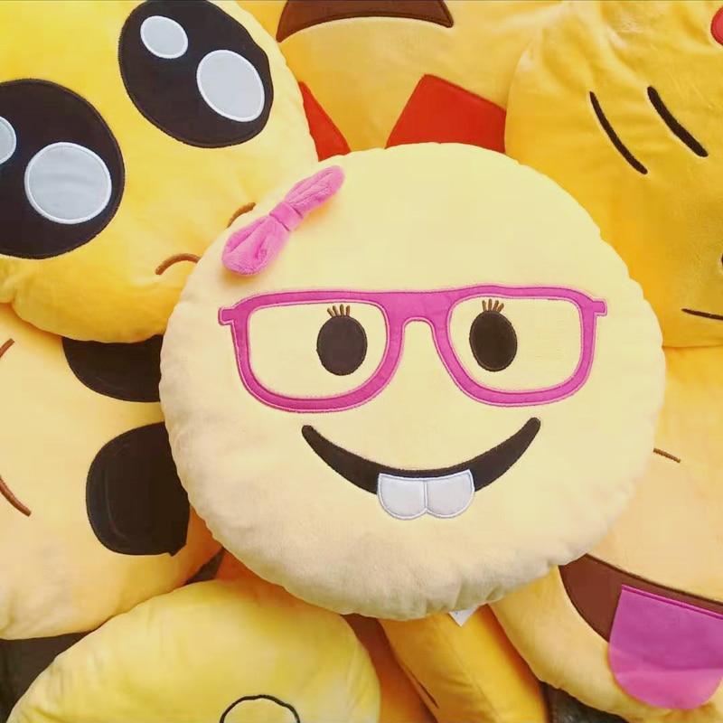 GZTZMY 30 * 30cm Emoji Pillow Cushion Round Yellow Kiss Smiley Face Pillow Car Sofa Decorative Pillows Christmas Couple Gift