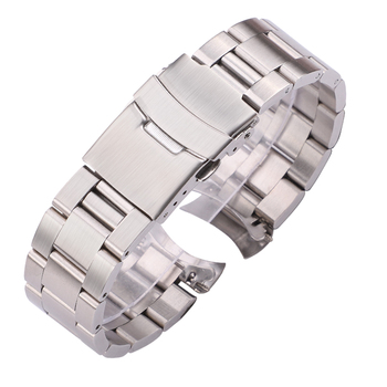 20mm 22mm Stainless Steel Watch Bracelet Silver Black Curved End Watchbands Women Men Metal Strap - discount item  47% OFF Watches Accessories
