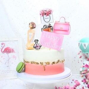 Image 2 - 8/9 stuks Roze Gelukkige Verjaardag Cake Topper voor Wedding Party Cupcake Party Decoracion Mode Lippenstift opper Taart Benodigdheden bloem