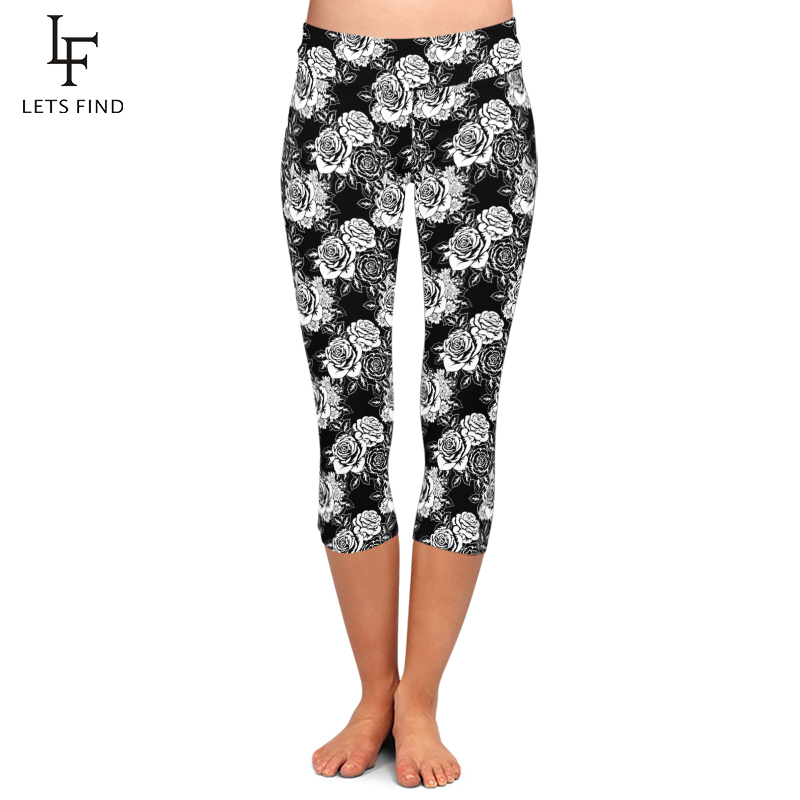 LETSFIND Summer Workout Black High Waist Leggings Rose Digital Printing Women Plus Size Sexy Mid-Calf Leggings Plus Size