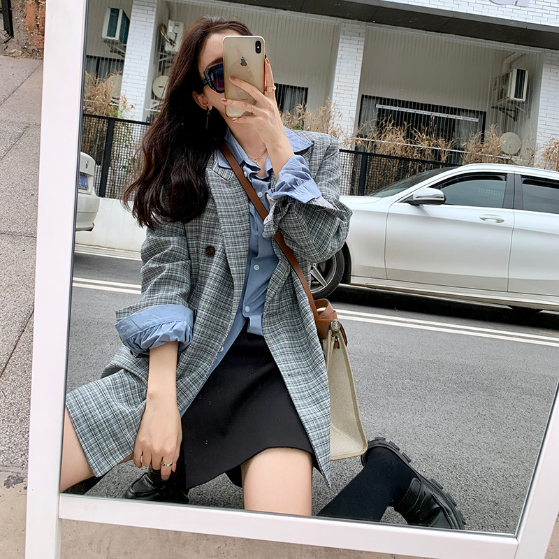 Mishow 2020 Spring Blazer Women New Outwear Office Ladiy Style Button Plaid Jacket Turn Down Collar Elegant Suit MX20A6189