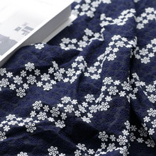 NEW Navy 100% Cotton Cloth Hollow-out Embroidered Lace Fabric Handmade DIY Clothes Accessories Width 130cm 1 meter(China)