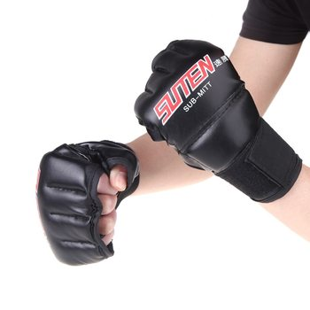 economy fitness family boxing suite child gift toy training mma muay thai fighting boxing gloves punching mitts foot pad target 2PCS/Pair Boxing Gloves PU Leather Finger Protector Half Mitts Mitten MMA Muay Thai Training Punching Fighting Sports