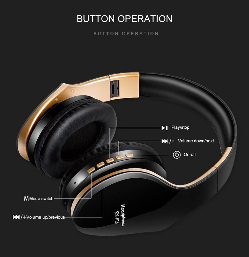 PunnkFunnk Wireless Headset Bluetooth Headpone 5.0 Foldablel Deep Bass Stereo Noise Reduction Gaming Earphone For Mobile PC Xbox