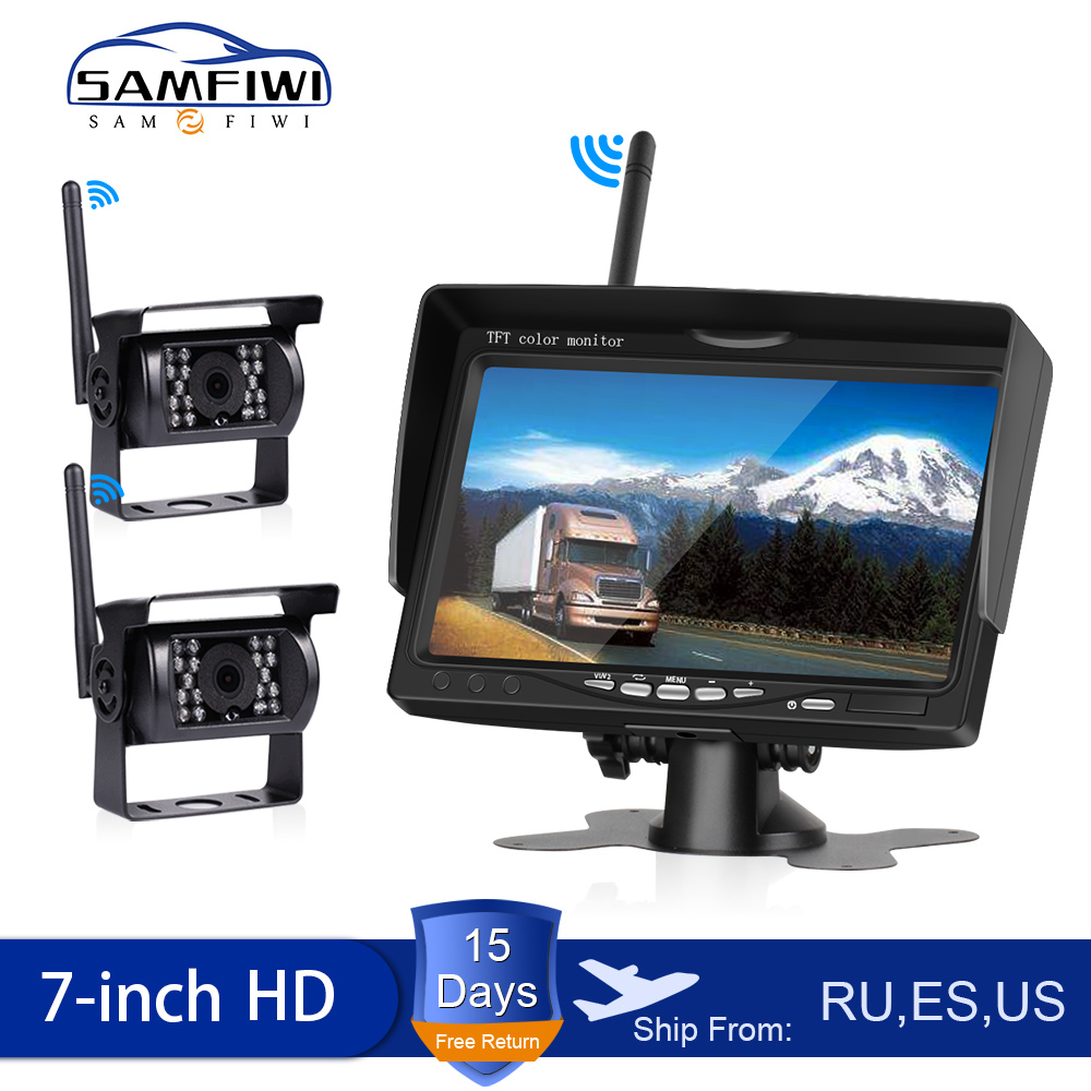 HD Wireless Car Monitor Truck Screen Display 7 inch CMOS IR Night Vision Reverse Backup Wifi Camera Parking System(China)