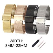 Qualidade 4 cores rosa ouro preto aço inoxidável men pulseira pulseira relógio de pulso malha substituição banda milanesa 12-18 20 22 22mm