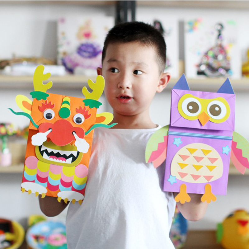 Kindergarten DIY Paper Bag Hand Puppet Crafts Kids Toys Work Making Material Package Animal Sticker Painting Toys For Children