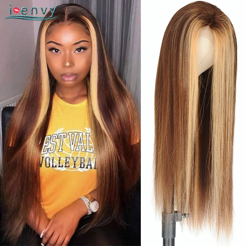 Ombre Blonde Lace Front Human Hair Wigs Pre Plucked Straight Peruvian Remy Hair 13*4 Lace Front Wigs Color Gradient 180% Density