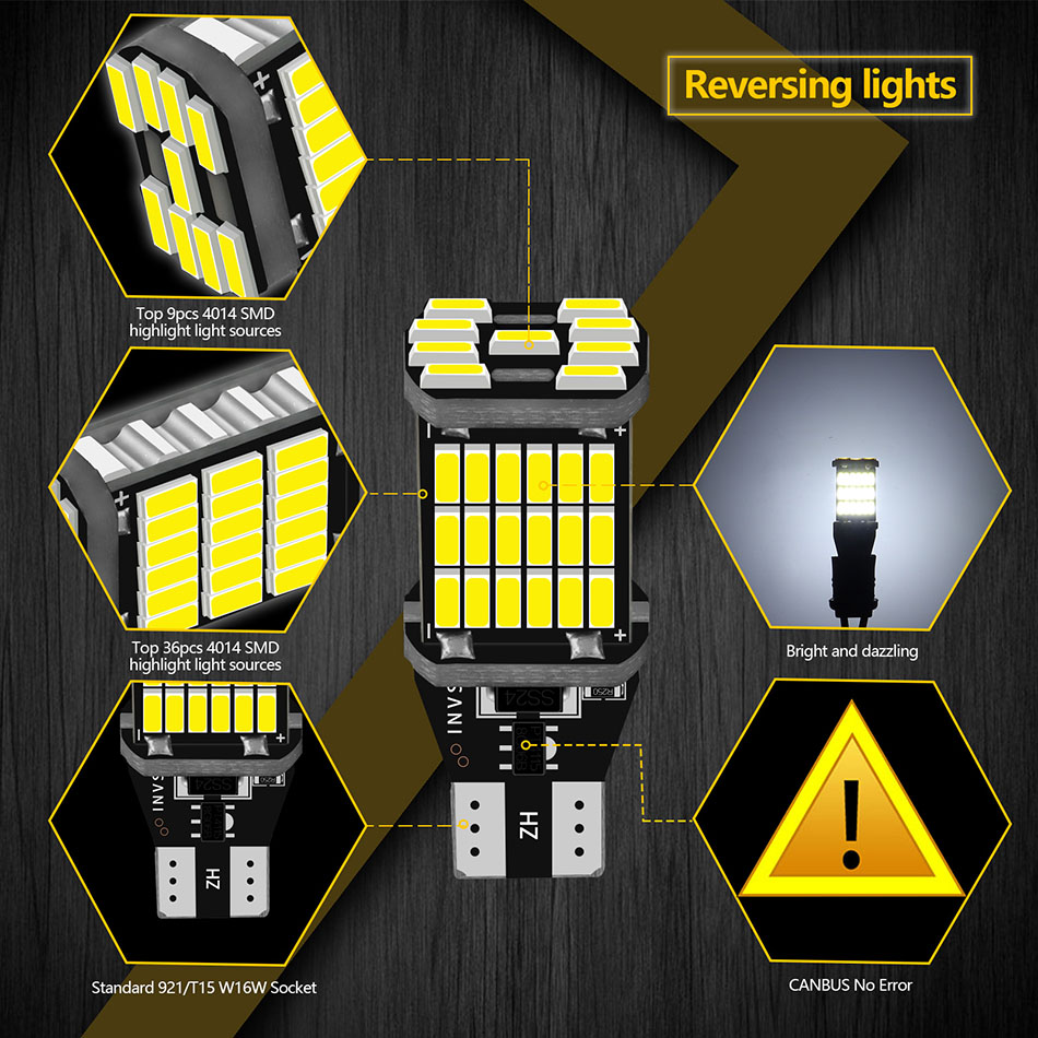 AILEO 2PCS T15 W16W 921 912 T16 902 LED Bulbs High Power 45pcs 4014SMD Super Bright 1200LM Replace For Car Reversing Light White 4