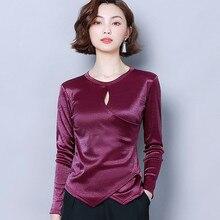 Korean Silk Blouses Women Satin Blouse Shirt Plus Size Woman Solid Long Sleeve Blouse Hollow Out Tops Blusas Mujer De Moda 2020