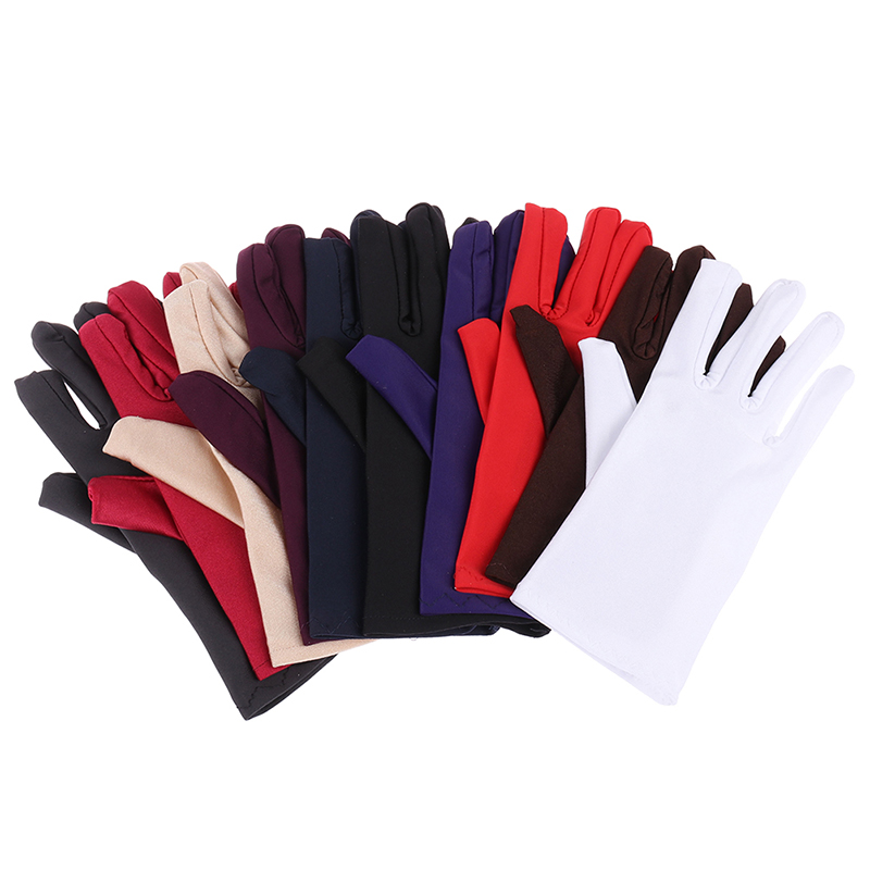 Girl Lady Satin Short Finger Wrist Gloves Smooth Evening Party Red White Glove Formal Prom Costume Stretch Gloves