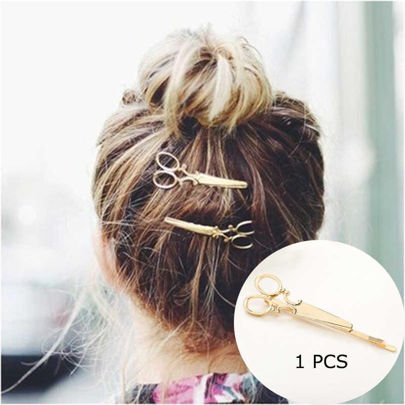 Clip di capelli Per Le Donne Forbici Diamante Luna Rotonda Foglia di Unicorno Cuore Semplice Oro Argento Della Ragazza del Regalo di Modo di Fascino