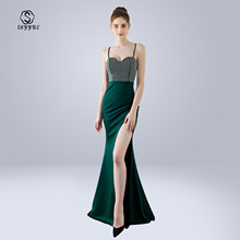 Skyyue Evening Dress Sling Sleeveless Robe De Soiree Split Women Party Dresses 2019 Wrapped Chest Crystal Formal Gowns C294