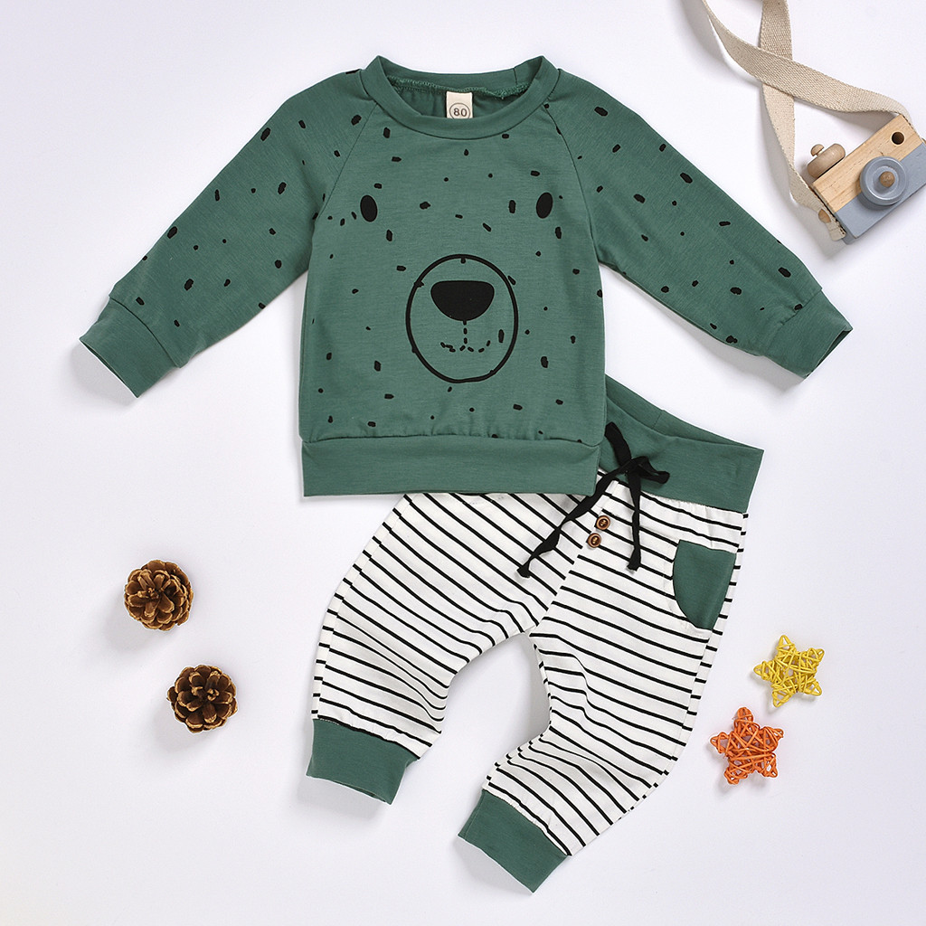 Newborn Clothes Kids Clothes Baby Boy Clothes roupa infantil Cartoon Bear Sweatshirt Tops+ Pants Outfits Set Free Ship Z4 3