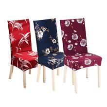 Chair Cover Flower Printing Removable Big Elastic Slipcover Modern Kitchen Seat Case Stretch For Banquet