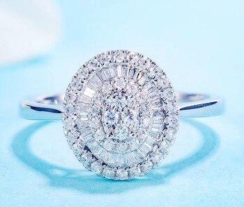 Luxury Halo Style Fine 0.4ct Diamond 18K white gold Engagement Ring 1